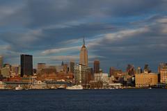 Manhattan from Hoboken (Mattron) Tags: nyc newyorkcity sunset sky newyork skyline clouds evening newjersey chelsea manhattan nj midtown esb hudsonriver empirestatebuilding hoboken kartpostal