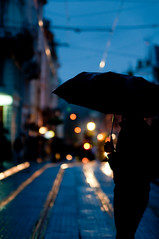 L'viv (laggyluke) Tags: umbrella lights bokeh tram lviv