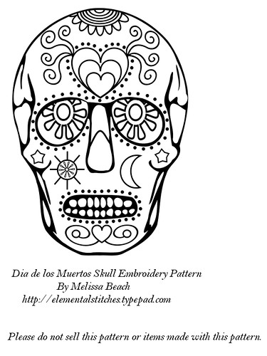 Dia de los Muertos Embroidery Pattern