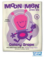 Moonmen Drink Mix: Galaxy Grape (bob canada) Tags: funnyface canada art monster illustration photoshop computer painting humorous drawing space alien cartoon bob galaxy comicbook illustrator 1960s grape martian packagedesign drinkmix bobcanada