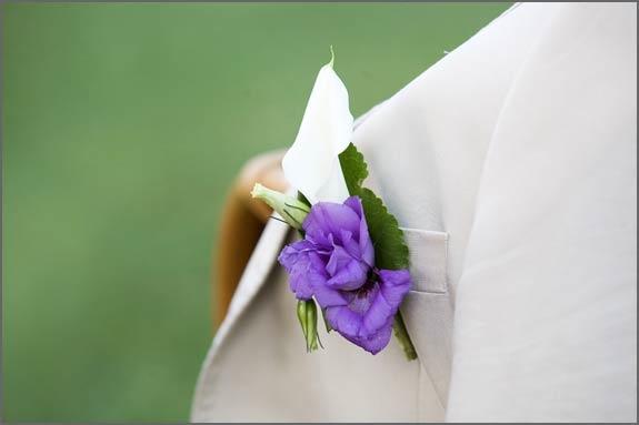 Purple Groom Buttonhole