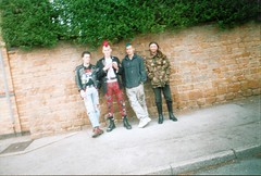 line up (yorkshirepuddin) Tags: nottingham pavement bighair punks brickwork drmartins bootsnbraces