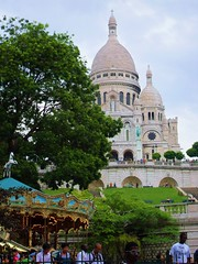Sacre-Coeur from the butte Montmartre (lindscatt) Tags: paris france carousel montmartre sacrecoeur tourist buttemontmartre