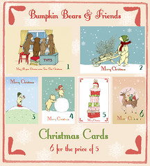 Christmas Card Set (bumpkinbears) Tags: christmas rabbit bunny reindeer cards snowflakes bears illustrations badger nostalgic vintagestyle childrensillustrations