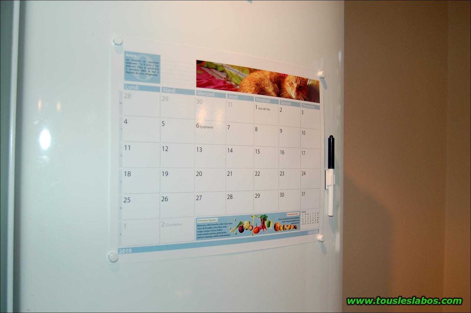 Calendrier magnétique pour frigo