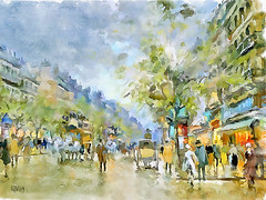Boulevard des capucines, Paris (piker77) Tags: urban painterly paris france art digital photoshop watercolor painting interesting media natural aquarelle digitale manipulation simulation peinture illusion virtual watercolour transparent acuarela tablet technique wacom stylized pintura imitation  aquarela aquarell emulation malerei pittura virtuale virtuel naturalmedia    piker77wc arthystorybrush