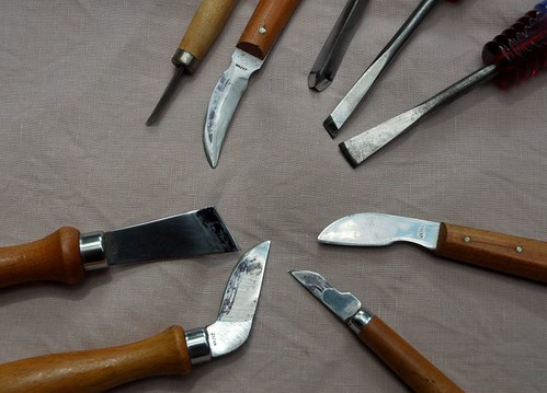 assorted carving tools