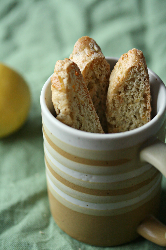 Lemon, Ginger and Pistachio Biscotti