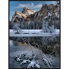Icing on the Cake (Tony Immoos) Tags: california lighting morning blue trees winter sky white snow black reflection ice nature water rock clouds wow river landscape nationalpark postcard awesome scenic meadow merced landmark olympus explore valley yosemite granite yosemitenationalpark e3 bridalveil sierranevada frontpage daytrip valleyview yosemitevalley 1000views mercedriver yosemiteblog californialandscape printsavailable zd yosemiteblogcom 1260mm olympuse3