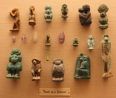 Egyptian Amulets - Thoth as a Baboon (noriko.stardust) Tags: blue museum ancient worship god object tomb egypt ornament glaze oxford egyptian civilization hoard baboon dynasty amulet talisman thoth ashmolean faient