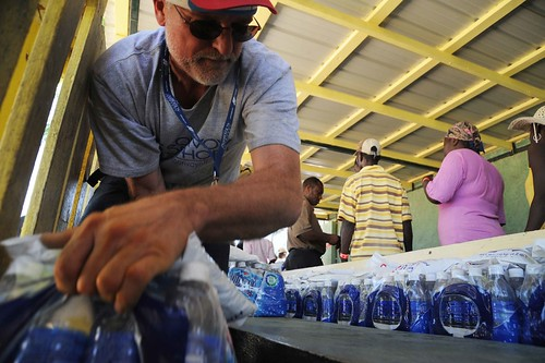 U.S. Volunteers Handing out Water, Haiti