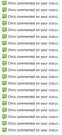 Chris commented on my status.