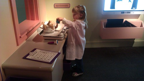 Vivianne playing doctor at the Children's Museum