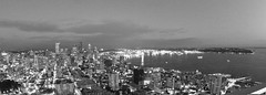 Seattle Skyline (NastyNinja) Tags: ocean seattle city panorama usa white fish canada black skyline skyscraper canon washington nightshot pacific sigma fisheye 60d elinastyninja
