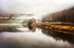 Distant Fog (Missy Jussy) Tags: fog piethorne piethornevalley ogden rochdale lancashire england northwest valley trees path reservoir water reflections fields hillside hills sunlight landscape moodylandscape atmosphere canon canon50mm 50mm canon5dmarkll