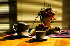 Morning Delight (dodjher) Tags: flowers light shadow stilllife cup fruits table tea sony pot a200 challengeyouwinner abigfave garbongbisaya dodjher pfohalloffame