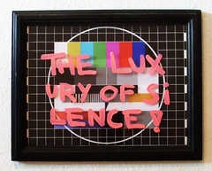 the luxury of silence (l.e.t.) Tags: street streetart pasteup art colors print poster graffiti design sketch tv riot artwork stencil sticker screenprint artist gallery contemporary kunst wheatpaste exhibition pop spray popart silkscreen artshow luxus let