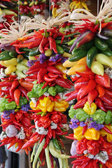 "Colorful, hanging pepper assortment (IronRodArt - Royce Bair (""Star Shooter"")) Tags: red food abstract hot colors yellow healthy colorful chili flavor display farmers market decorative spice harvest culture tasty vegetable fresh textures mexican spanish hanging peppers chilly produce taste spicy diet agriculture decorate assortment capsicum seasoning aroma antioxidant annuum"