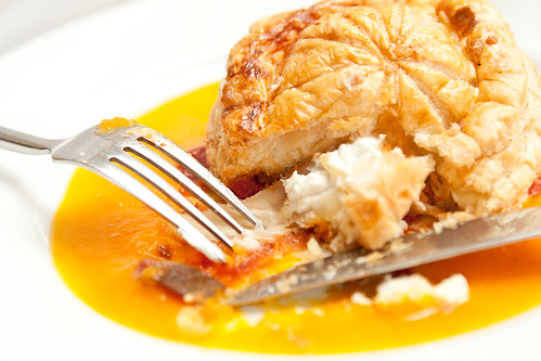 Pithiviers of English rosary goat cheese, provencal vegetables & butternut squash sauce