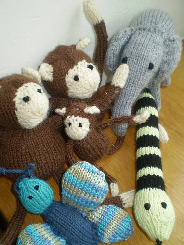 Knitted monkey puzzle characters