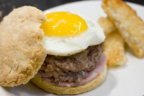 breakfast burger with Hash Browns