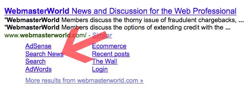 WebmasterWorld's Google Sitelinks