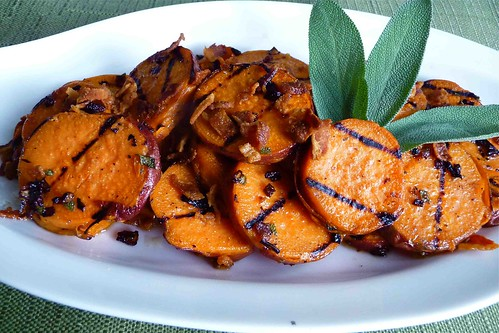 Grilled Sweet Potatoes with Pancetta & Sage Vinaigrette