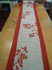 The Finished Runner (homesweet) Tags: orange linen appleblossom tablerunner juco blockprinted homesweet