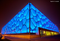 The Water Cube or Triangle :-) (Ragstatic) Tags: china travel blue light urban color sports water architecture composition swimming relax design nikon exposure dof angle designer stadium rags famous perspective beijing games structure explore architect national bubble leisure olympic olympics common frontpage 2009 depth dri birdsnest watercube d700 nationalaquaticscenter