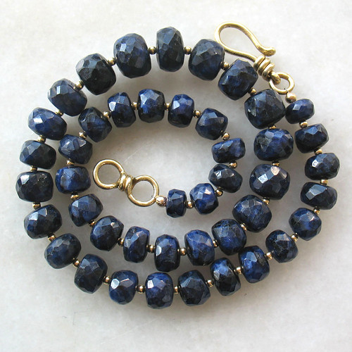 Deep Blue Sapphire and 18k Gold Bead gemstone necklace