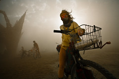 dust storm (Lobster Rocket) Tags: storm bike goggles playa dust duststorm theman bootyshorts burningman2009 bm2009