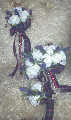 *lisa r 238 pkg* brides scottish bouquet of roses/thistles/ lavender/diamante pins/red/silver bling & errachct tartan bow.with grooms buttonhole & adult bridesmaids wand by you.