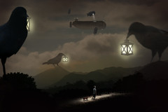 The Night Path (dcecil805) Tags: california ca light beach birds night clouds path blimp airship lantern crow photoillustration donaldcecil