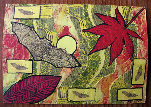 Autumn bats mail art