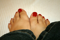 Red, White & Blue (Ravishing_In_Her_Own_Right) Tags: feet toes jeans footfetish redpolish