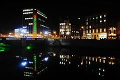 O'Connell Bridge reflection (Alan Wrights) Tags: bridge ireland dublin reflection alan night river scene liffey wright oconnell