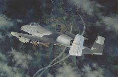 [フリー画像] 芸術・アート, 絵画・版画, 乗り物, 航空機, 攻撃機, A-10 サンダーボルトII, 201010142300
