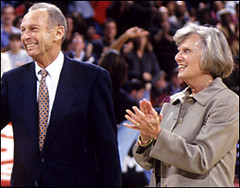 the late Abe Pollin with his wife, Irene (by: George Mason University)