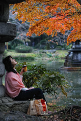 Lunch under the momiji; Hibiya Park, Tokyo (Alfie | Japanorama) Tags: park autumn trees woman lake tree fall water coffee leaves japan lady season asian lunch japanese tokyo leaf maple pond nikon asia traditional lunchhour lunchtime mcdonalds momiji acer koen hibiya d300 hibiyapark hibiyakoen nikkor50mmf14afd