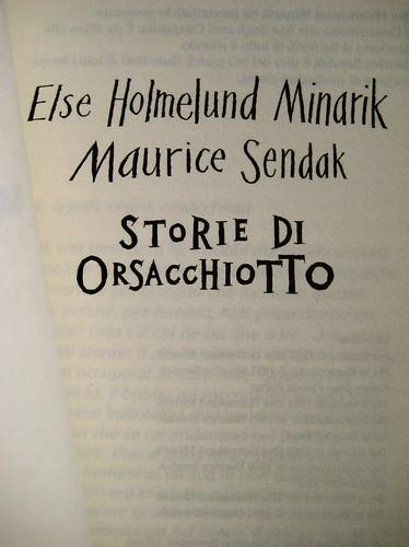 Else Holmelund Minarik, Maurice Sendak, Storie di orsacchiotto, ©BUR Ragazzi 2009; Lettering di Jeffrey Fisher, progetto grafico Mucca Design, frontespizio (part.)