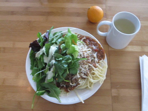 Pasta with lamb bolognese, salad, lemonade, clementine - $6 from the bistro