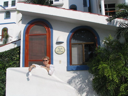 Ruth in front of our accommodations - Casita Sur