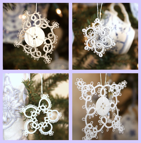 Tatted Lace Snowflakes por Romantic Home.