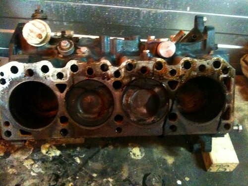 Quite a lot of crap on the inside, but no leaky head gasket, bores are in good shape.