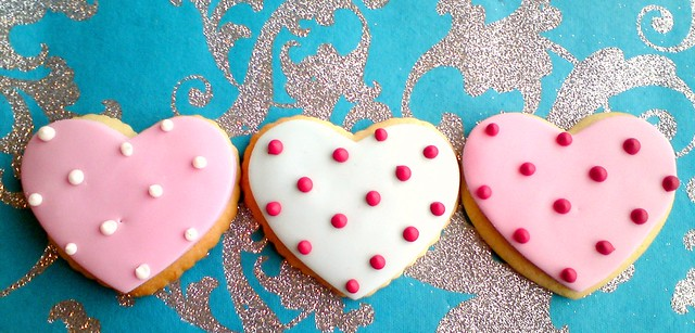 Heart shaped Valentines cookies