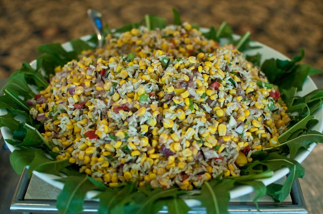 Smoked corn and wild rice salad