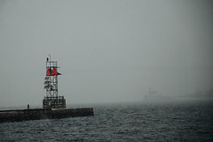 In the Fog (janice.sullivan12) Tags: fog bridge lighthouse foghorn roseislandlighthouse newportbridge newportri rhodeisland water snow snowday