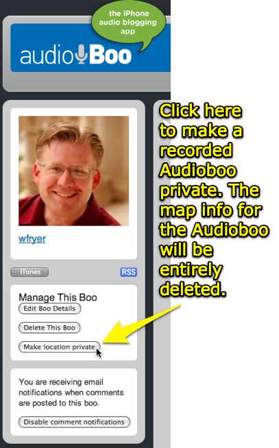 Make the location private for an Audioboo