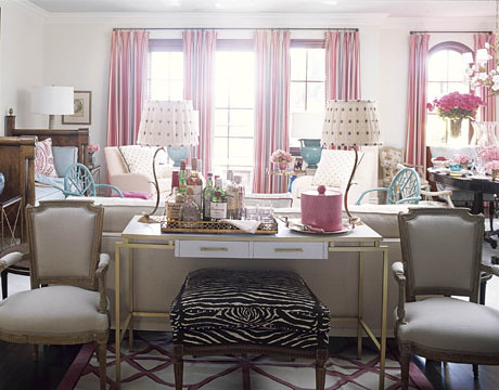 Colorful living room: Pink + turquoise + zebra print by decorator Joe Nye