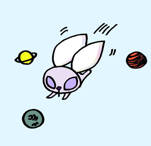 惑星の間を飛ぶ、星うさぎ背景